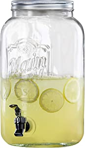 Style Setter 210260-GB Beverage Cold Drink Dispenser w/ 2-Gallon Capacity Glass Jug, Leak-Proof Acrylic Spigot in Gorgeous Gift Box for Parties, 8.5 x 13.5, Clear
