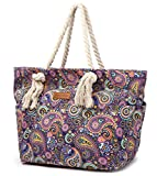 Malirona Large Canvas Beach Bag Shoulder Bags,6 pockets,44L, Weekend Holiday Perfect Bag (Purple Flower)