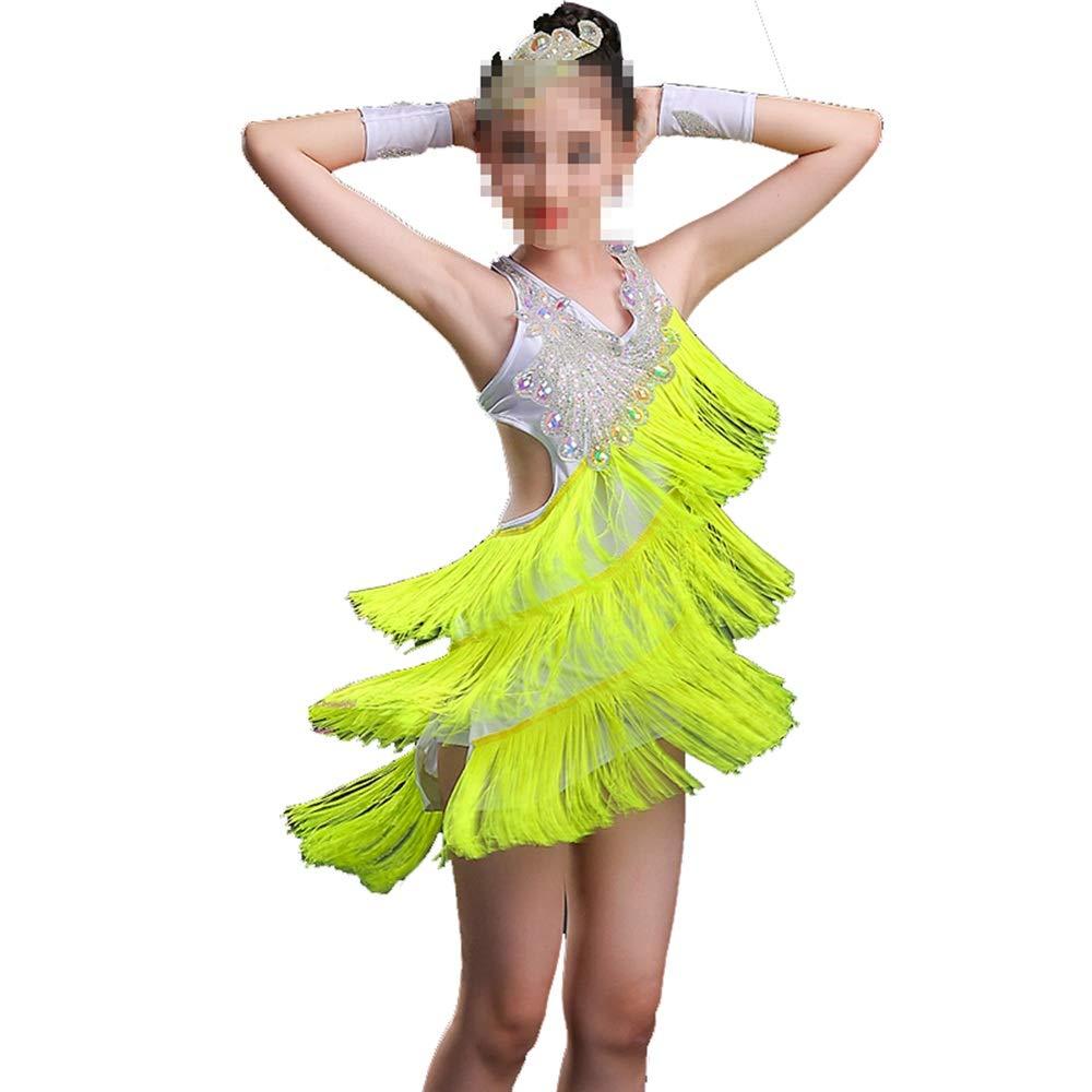 Vert 170cm Yocobo Robe de Danse Enfant en Bas Âge Enfants Filles Robe de Ballet Latine asymétrique Costumes de Danse de Salon Justaucorps de Gymnastique (Couleur   Vert, Taille   160cm)