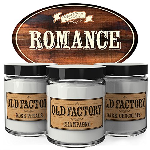 Old Factory Scented Candles - Romance - Set of 3: Rose Petals, Champagne, and Dark Chocolate - 3 x 4-Ounce Soy Candles - Perfect Valentines Day Gift for Her