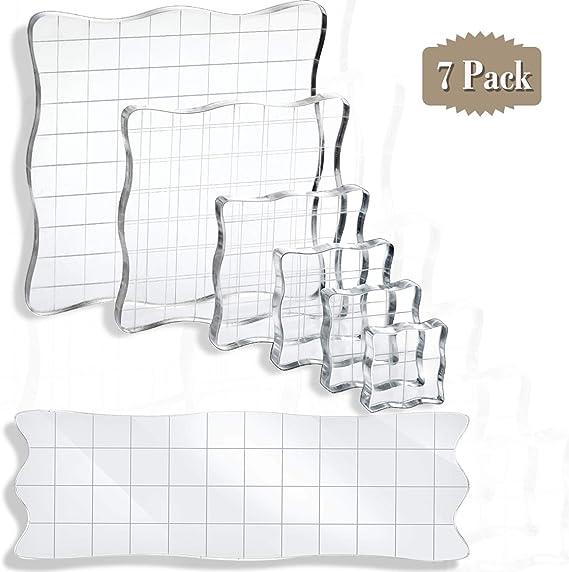 8 verschiedene Gr/ö/ßen klarer Stempelblock Stempelblock-Set klarer Acryl Briefbeschwerer Notizb/ücher Tageb/ücher Schule f/ür Heimstempel DIY-Karten