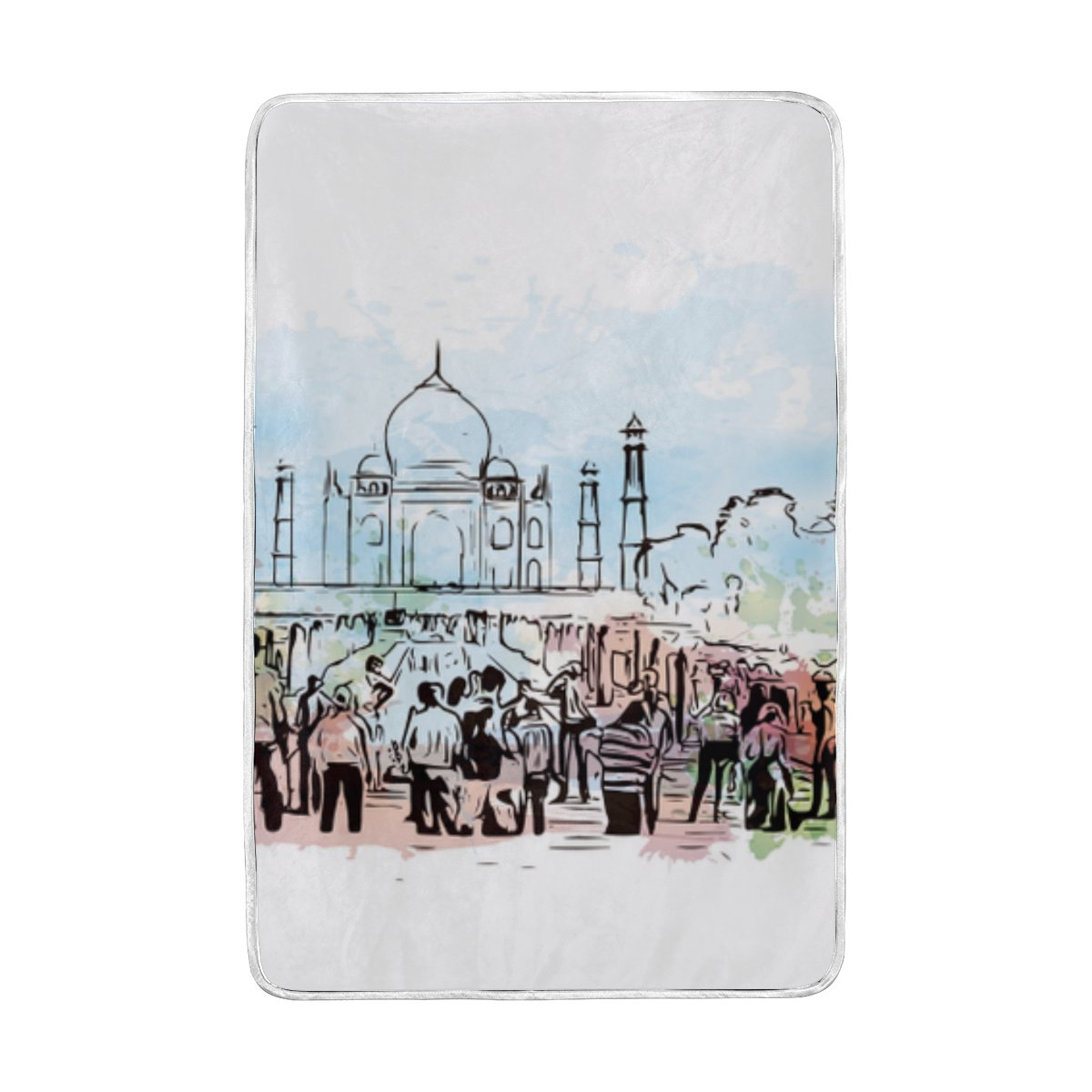 ALAZA Cooper girl India Taj Mahal Throw Blanket Soft Warm Bed Couch Blanket Lightweight Polyester Microfiber 60x90 Inch