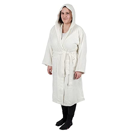 Homescapes Luxury Cream Adults Dressing Gown 100% Egyptian Cotton Hooded  Terry Towelling Unisex Bathrobe 6813b6b31