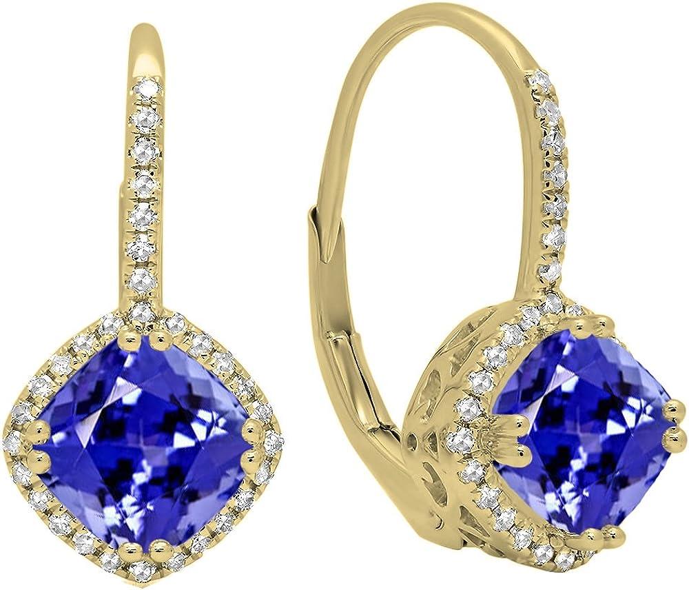 10K Amarillo Oro 6mm cada cojín Gemstone y redondo blanco diamante, de Halo estilo pendientes de aro