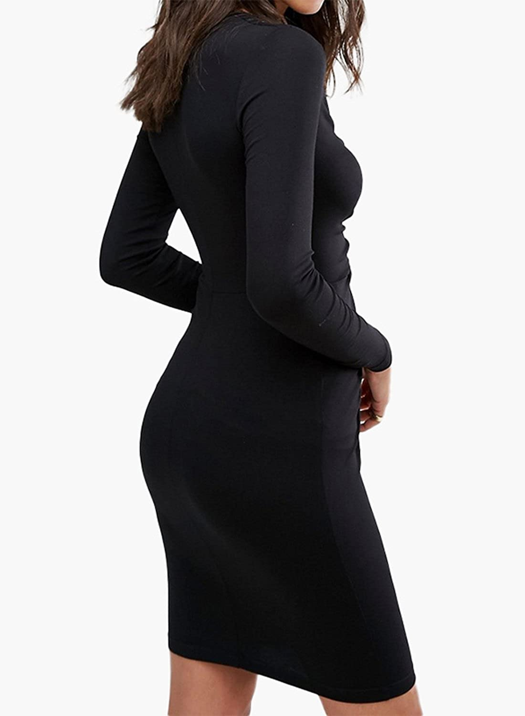 ACHICGIRL Women's Ruched Zip Front Bodycon Dress