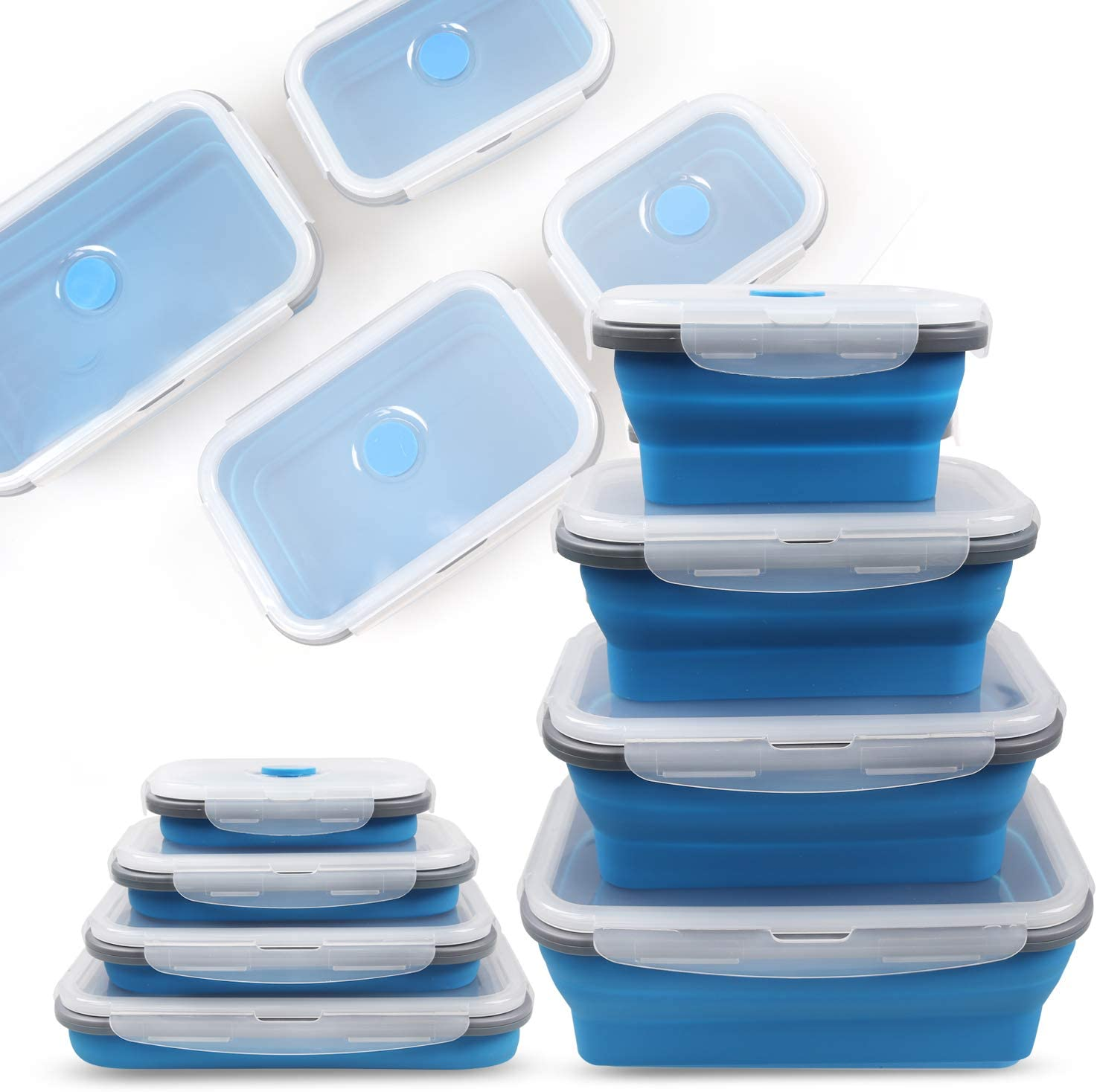 Collapsible Silicone Food Storage Container, Foldable Thin Bin design Box, Bento Lunch Boxes, Easy Cleaning, BPA Free, Microwave, Dishwasher Safe(4 Pack)