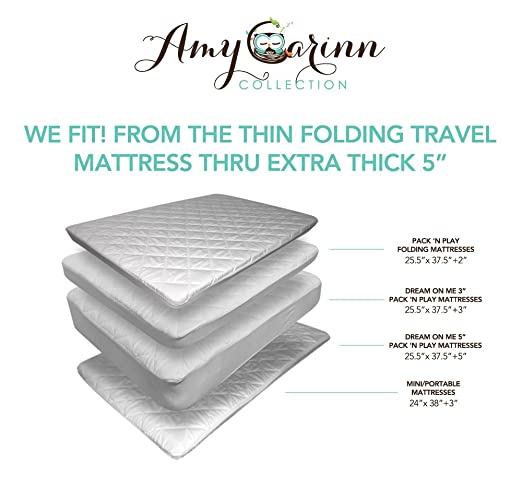 ACC Pack N Play Crib Mattress Pad Cover Fits ALL Mini Cribs, Waterproof & Dryer Friendly. Lifetime Warranty! Best Fitted Crib Protector.