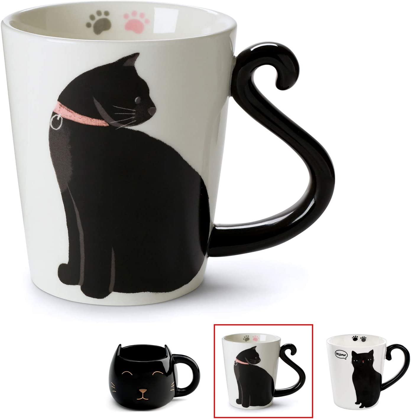 Amazon Com Cute Cat Mug For Coffee Or Tea Ceramic Cup For Cat Lovers With Black And White Kitty And Tail Shaped Handle Unique 11 Oz Accessories Mugs Make Best Presents For