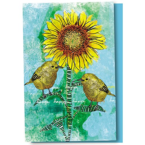 Tree-Free Greetings EcoNotes 12-Count Happy Happy Bird Sunflower Blank Notecard Set With Envelopes, All Occasion, Floral Card (FS56946)
