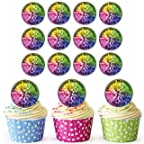 AKGifts Disco Ball 24 Personalised Edible Cupcake Toppers / Birthday Cake Decorations - Easy Precut Circles (7 - 10 BUSINESS DAYS DELIVERY FROM UK)