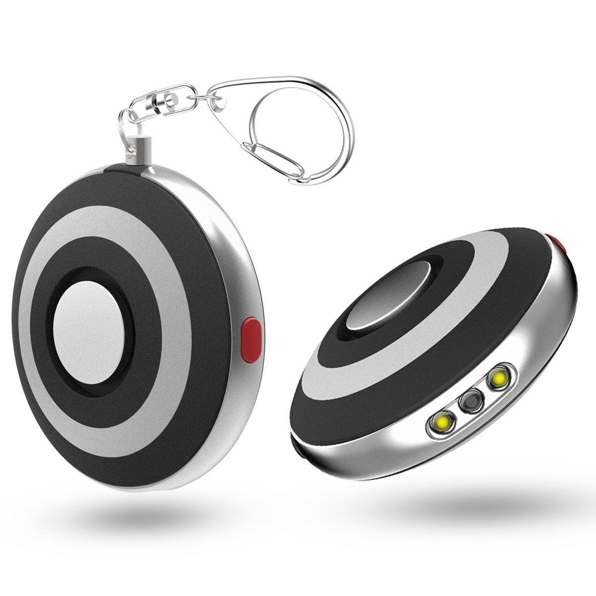 ASTUBIA Personal Alarm Keychain [2 pack] with LED Flashlight 125DB Self-Defense Safe Emergency Sound Siren Song Alarm for Women Kids Elderly Superior Explorer Protection -Black