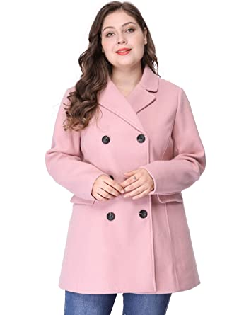 a2279ae7246a0 Agnes Orinda Women s Plus Size Notched Lapel Double Breasted Long Coat 2X  Pink