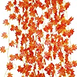 LJY 12 Pieces Artificial Red Maple Vine Leaves Garland for Wedding Party Garden Wall Christmas Decoration