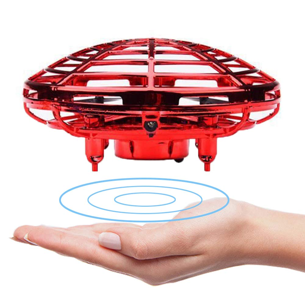 Velidy Flying Ball Toy Drones, Funny Hand-Controlled USB Charging Flying Ball Four-Axis Mini Aircraft Interactive Infrared Induction with 360° Rotating Shinning LED Lights for Children Gift (red)