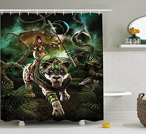 [Fantasy World Decor Collection Graphics of Fantasy Scene with Girl and Saber-tooth Tiger Magical Plants Galaxy Home Polyester Fabric Bathroom Shower Curtain Set with Hooks] (Sabertooth Claws Costume)