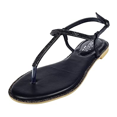86b85680f8c7f SheSole Womens Pu Leather Flat Sandals Wedding Diamante Beach Wedding Dress  Shoes Black Size UK 9: Amazon.co.uk: Shoes & Bags