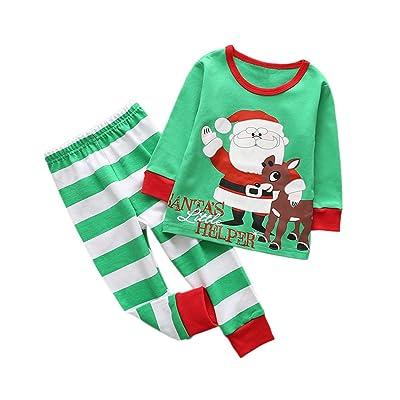 Girls Boys Christmas Style Two-pieces Pajamas Set Cotton Cartoon Sleepwear Long Sleeve Shirts and Pants