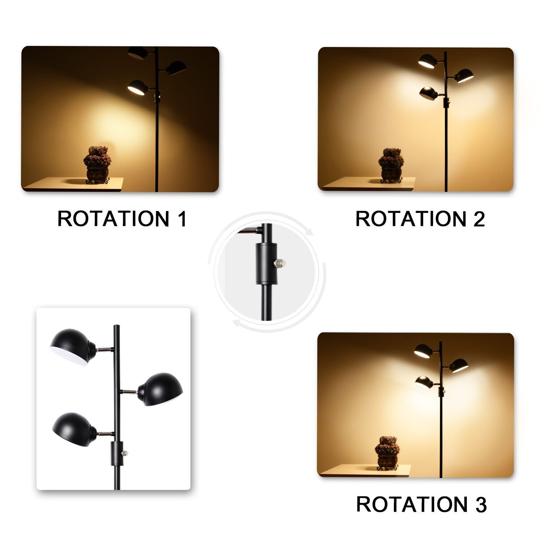Floor Lamp, SUNLLIPE 3 Lights LED Reading Floor Lamp 15W Modern Tall Pole Standing Dimmable & Adjustable Omnidirectional Energy Saving Tree Lamp for Bedroom, Living Room, Office (Jet Black) by sunllipe (Image #4)