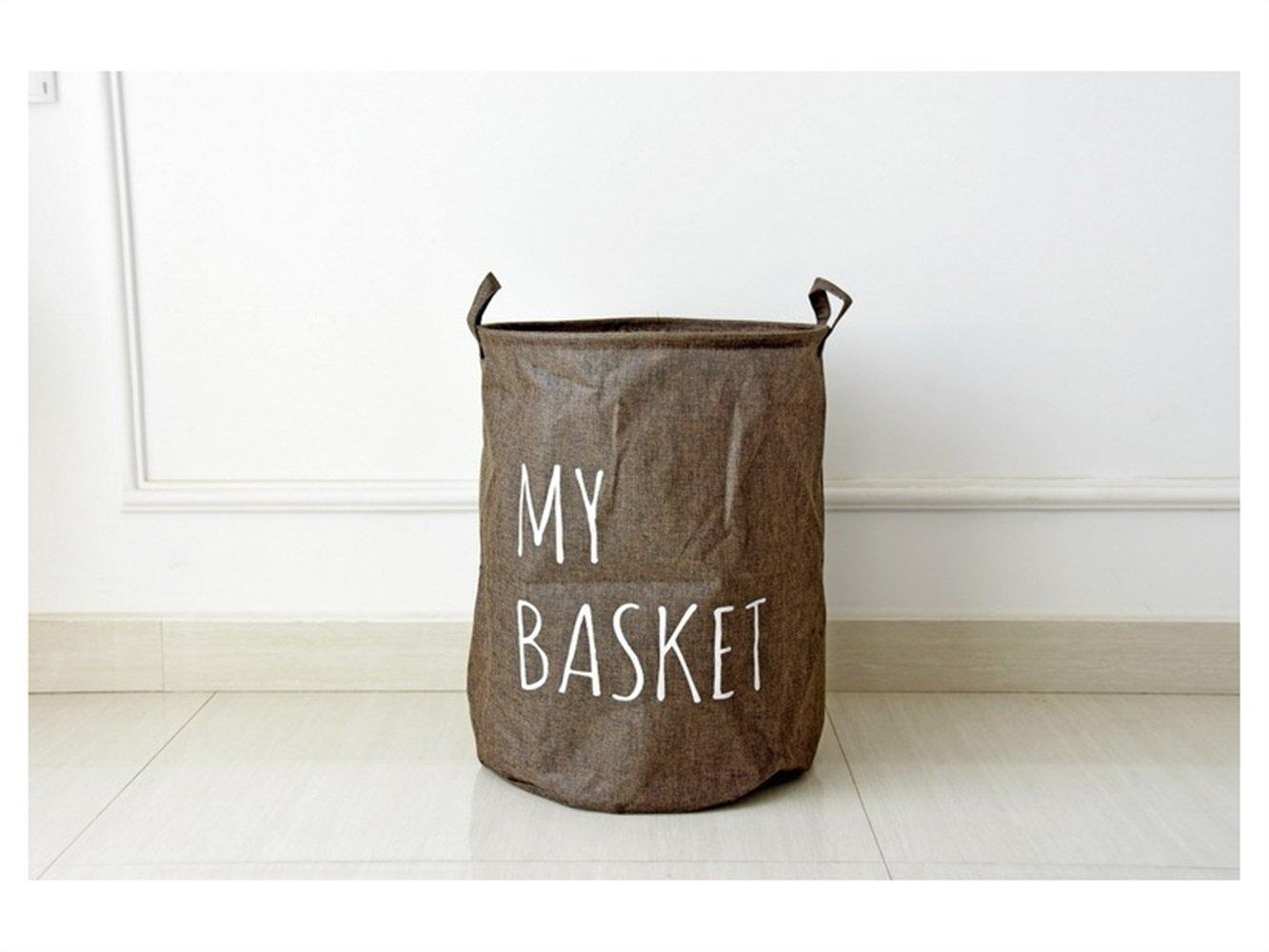Gelaiken Lightweight MY BASKET Pattern Tote Storage Basket Storage Bag Cotton and Linen Storage Box Sundries Storage Bucket(Light Brown)