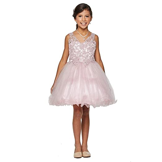 ae2f0968b47 Little Girls Dusty Rose Rhinestone Pearl Beaded Tulle Flower Girl Dress 4