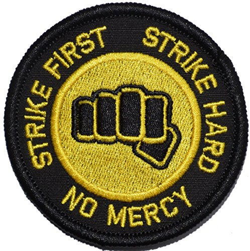 Strike First Strike Hard No Mercy Cobra Kai Motto 3in Diameter Morale Patch (Black w/Yellow)