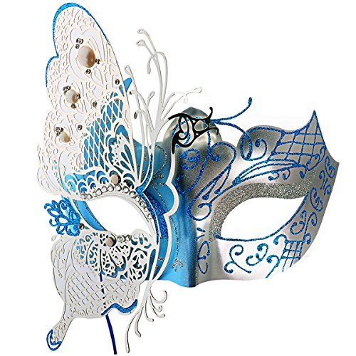 Venetian Mask, Coxeer Princess Dance Mask Metal Butterfly Mask for Halloween Masquerade Mask for Halloween (Butterfly Makeup)