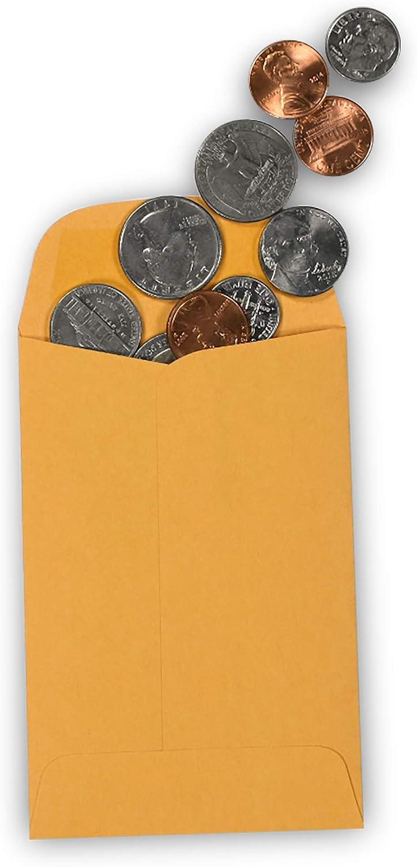500//Box 3 x 4-1//2 Guardian #4 Coin Envelopes Brown