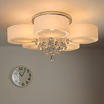 NatsenR Modern Deckenlampe 5 Flammig Kristall Deckenleuchte Designer Wohnzimmer Lampe LED E27 75cm