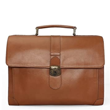 289fb47e07 BRUNE Tan Color 100% Genuine Leather Laptop Bag For Men Office Briefcase  For Men Designer ...