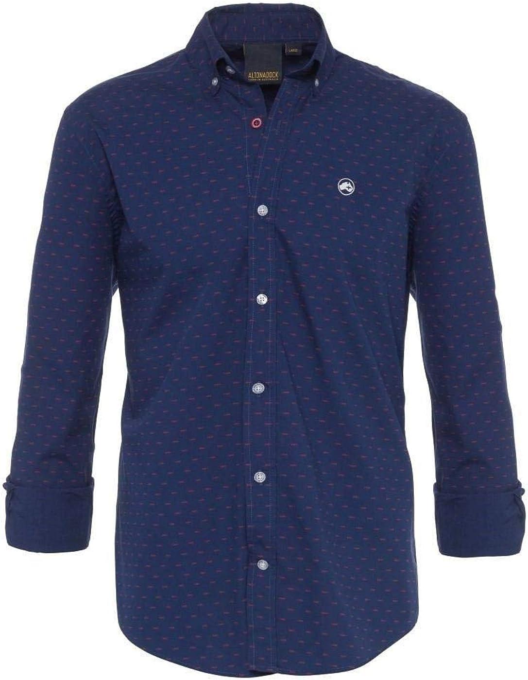 ALTONADOCK Camisa Azul Topos Rojos para Hombre Small Azul ...