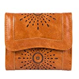 Clothink Women's Wallet, PU Leather Hollow Out Card Holder Stylish Trifold Small Purse, Brown