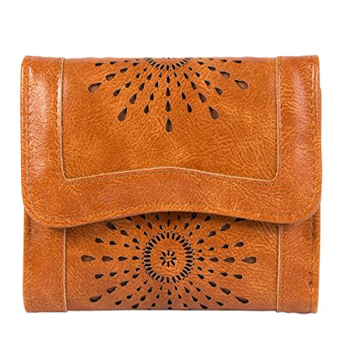 Clothink Women's Wallet, PU Leather Hollow Out Card Holder Stylish Trifold Small Purse, Brown by Clothink