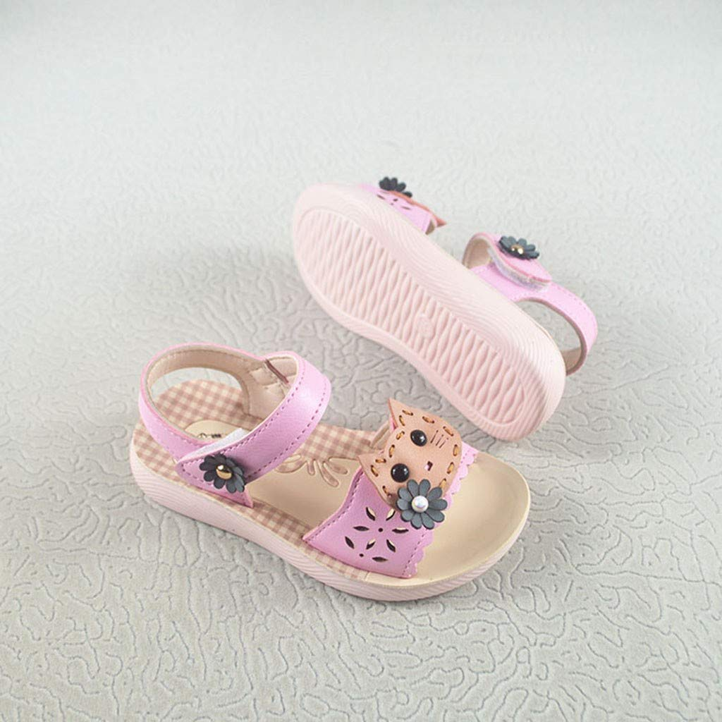 Franterd Baby Sandals Kids Little Girls Cat Cartoon Pearl Princess Flat Shoes Open Toe Summer Sandals