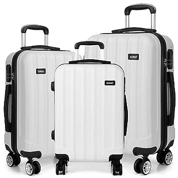 327a60579d2 Kono beige Trolley Koffer Reisekoffer Reisekofferset Gepäckset Kofferset 4  Zwillingsrollen Hartschale 3er Kofferset