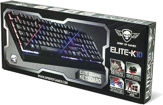 Spirit of Gamer ELITE-K10 USB QWERTY Inglés Negro - Teclado (USB, Juego, Interruptor de membrana, QWERTY, Inglés, Alámbrico)