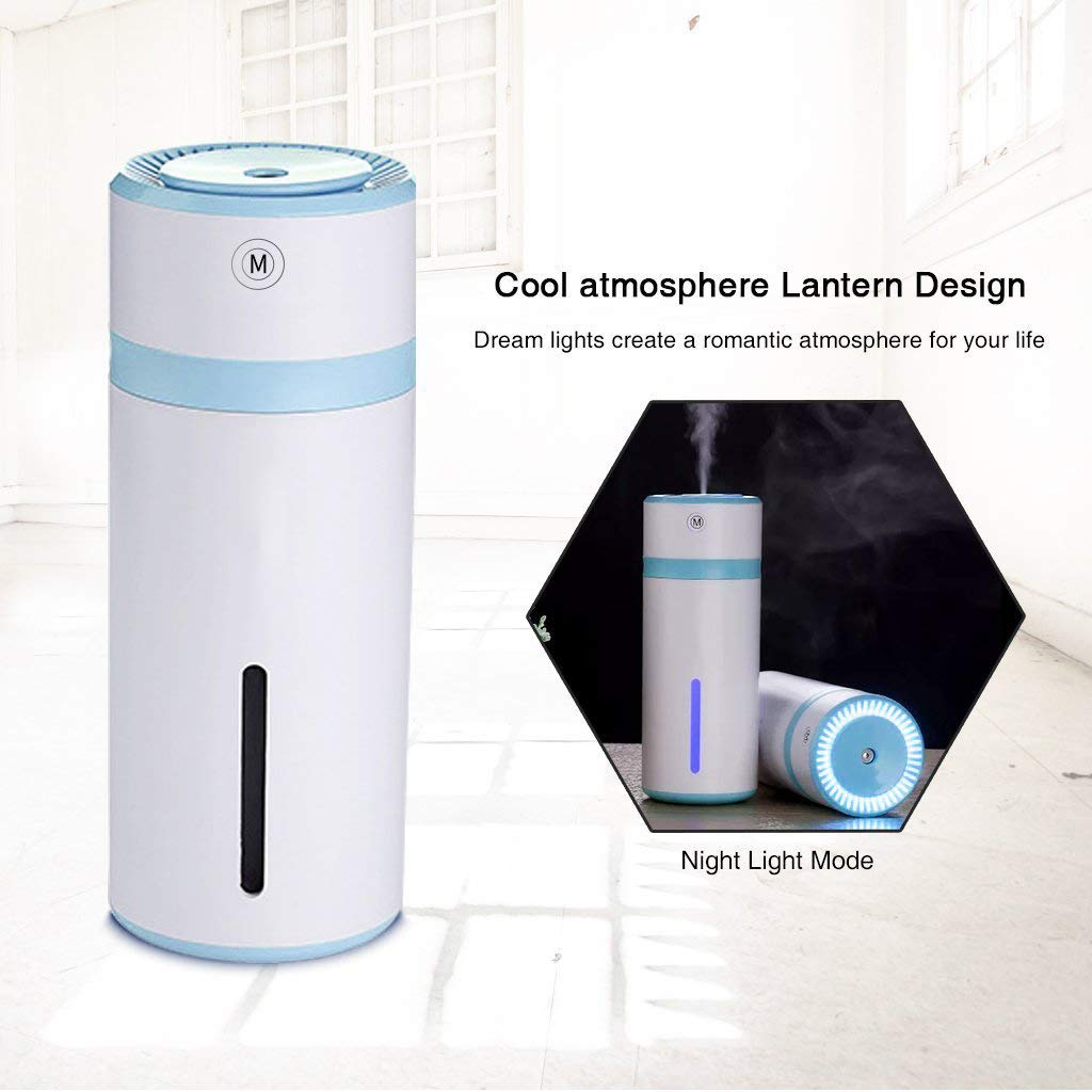 Steam humidifier 240ml, ultrasonic mini USB air humidifier evaporator mini portable portable humidifier, automatic off, bedroom office with led lights
