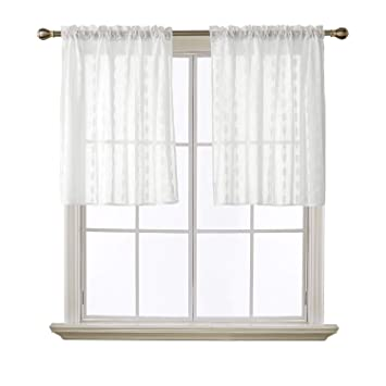 Amazoncom Deconovo 36 Inch Length Tier Sheer Curtains Textured