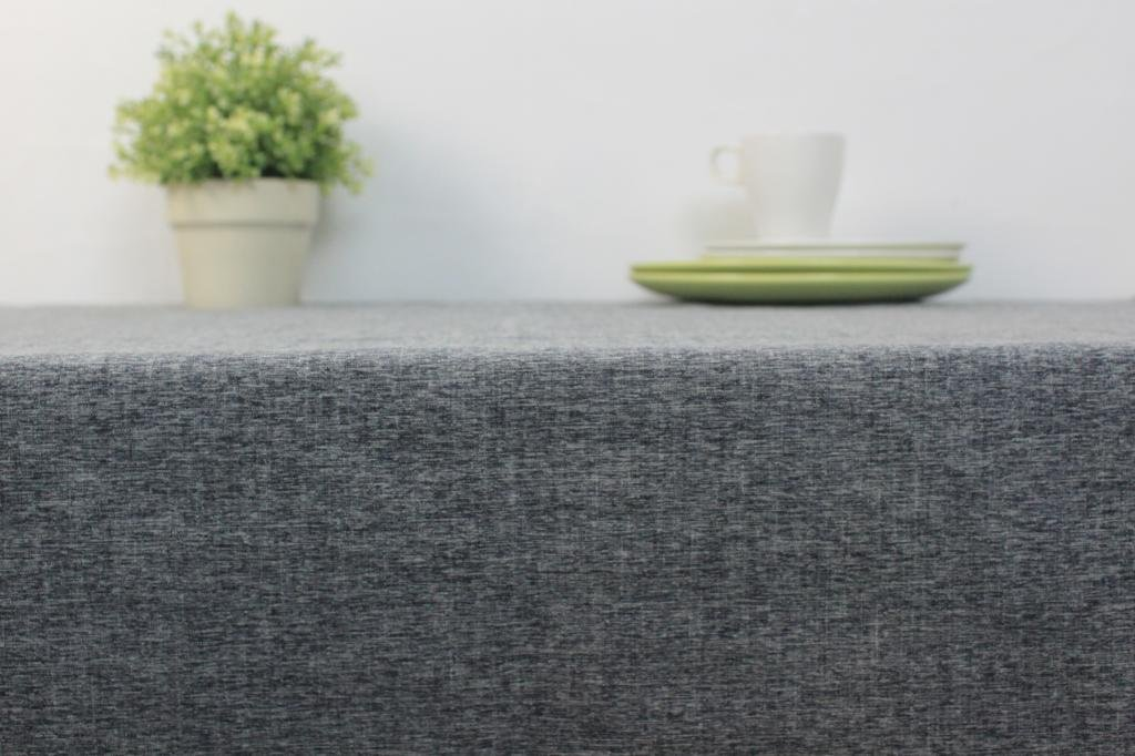 Cotton and Linen, Machine Washable, Everyday Chambray Kitchen Tablecloth For Dinner Parties, Summer & Outdoor Picnics(Gray,55x70.7In) by LINENLUX (Image #2)