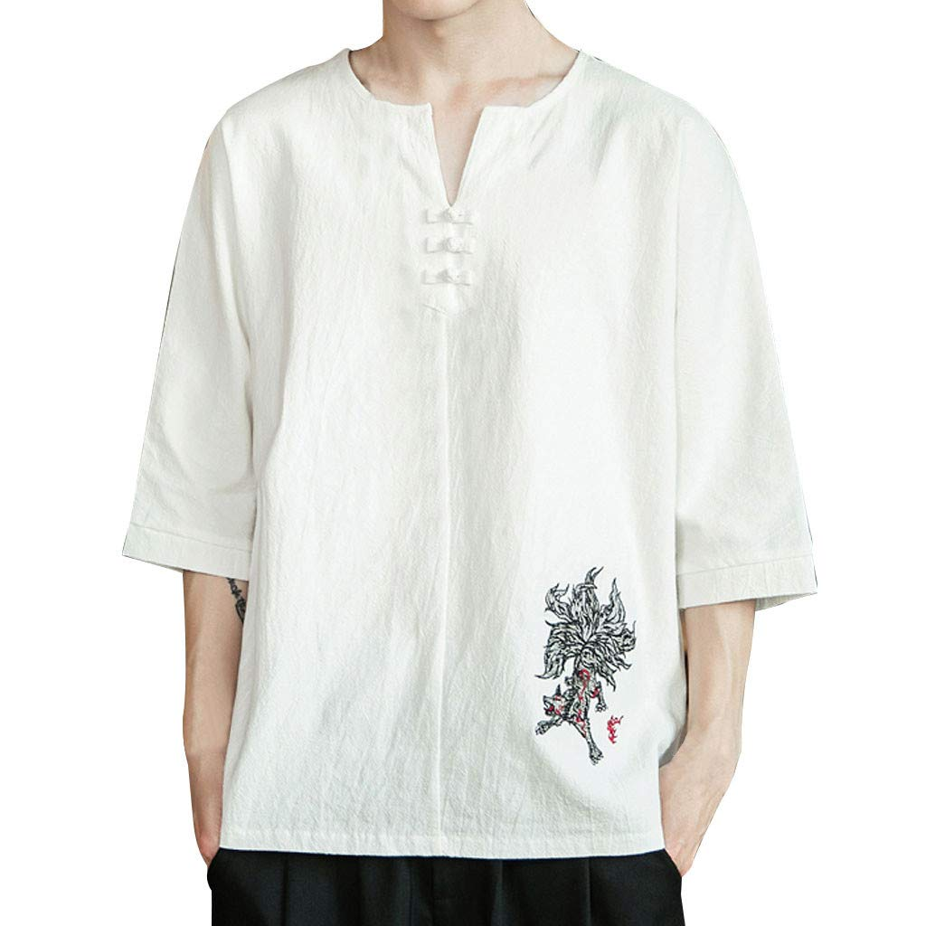 YOMXL Men's Casual Tee Cotton Linen V Neck Floral Embroidery T Shirts Button Decor Loose Fit Tops White by YOMXL