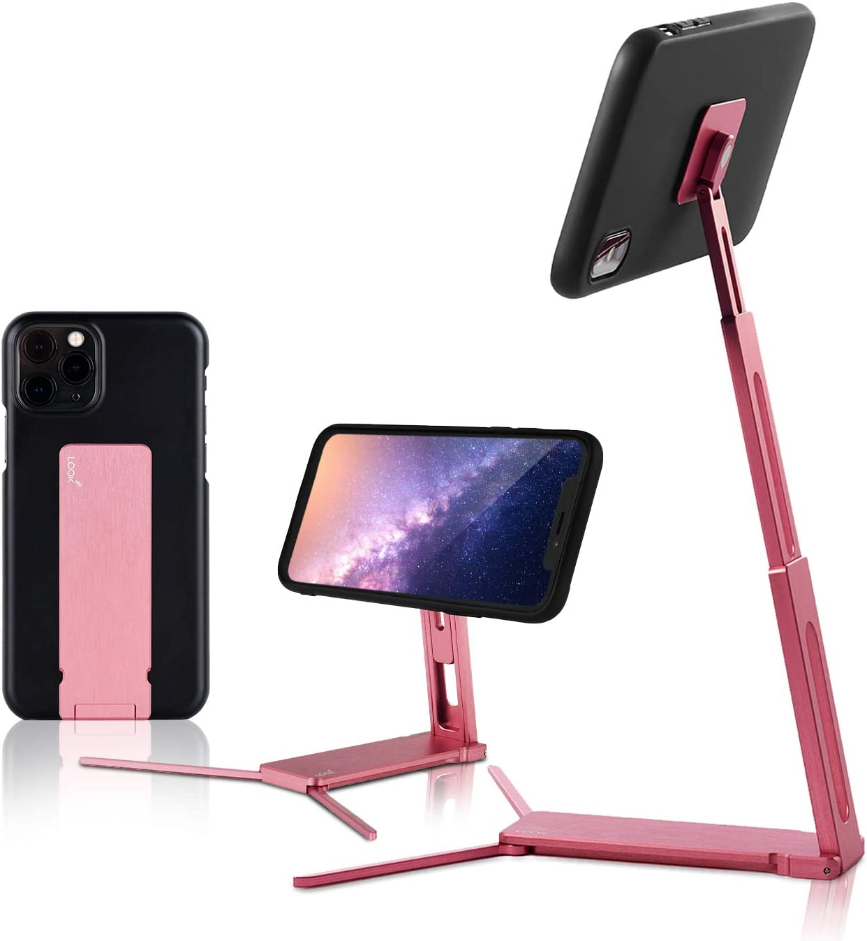 Lookstand + Detach Mount Pink Quartz Adjustable Cell Phone Stand Compatible with iPhone & Android - Cell Phone Holder for Bed | iPhone Holder iPhone Stand for Video | Desk Phone Stand for Recording