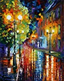 100% Hand Painted Oil Paintings Modern Abstract Art Oil Painting Urban Rain at Night Home Wall Decor (20X28 Inch, Wall Arts 1)