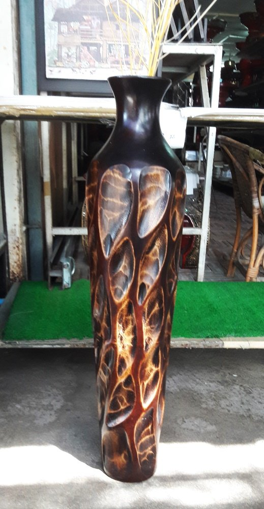 Thailand : Tall 26 inches, Tall brown wood vases,by Skilled Technicians (No 08) From Thailand.