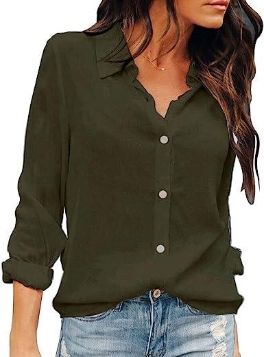 Women/'s Summer Loose V Neck Chiffon Long Sleeve Blouse Casual Collar Shirt Tops