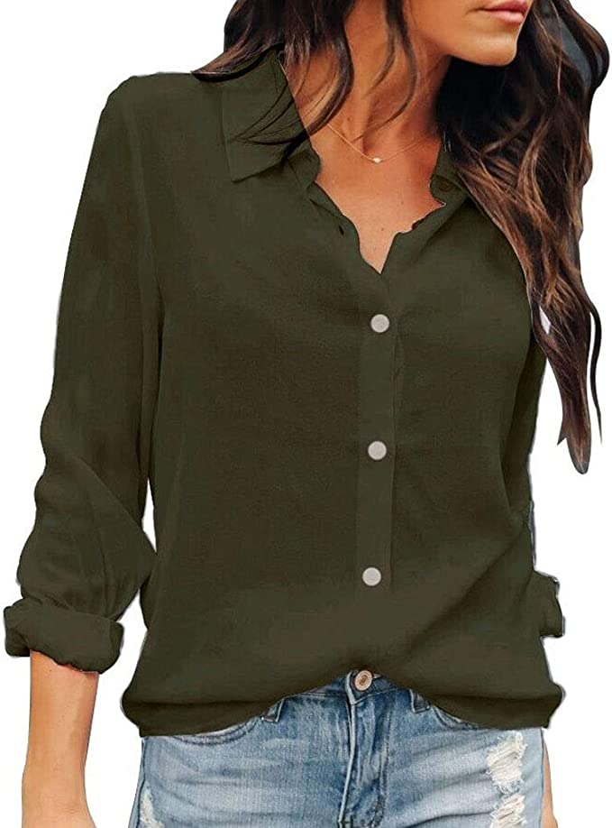 OMSJ Women Button Down Shirts Long Sleeve Chiffon Office V Neck Casual  Business Blouses Tops at Amazon Women's Clothing store