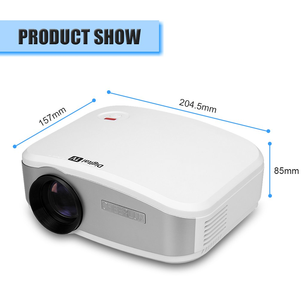 CHEERLUX C6 - Mini LED Proyector portátil Home Cinema (resolución 800*480, 1200 lúmenes, conexión USB/HDMI/ATV/AV/VGA) con altavoz estéreo, Blanco