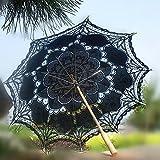 Ladeyi Lace Umbrellas, Handmade Bridal Parasol Umbrella Wedding Decoration (Black)