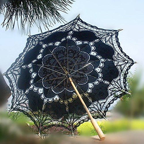 Ladeyi Lace Umbrellas, Handmade Bridal Parasol Umbrella Wedding Decoration (Black) by LADEY (Image #1)