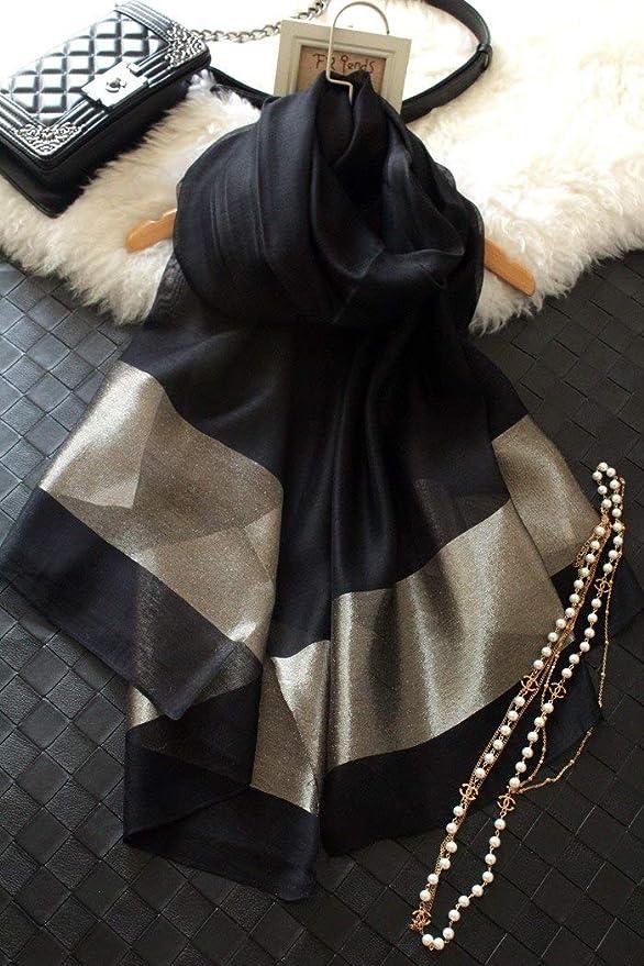 Apparel Accessories Runmeifa Hot Sale Women New Spring Summer Style Gold Silk Yarn Golden Long Silk Scarf Shawl Female