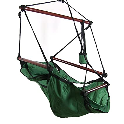 Lovely Sunnydaze Deluxe Hanging Hammock Air Chair With Pillow And Drink Holder,  Solid Wood Bars,