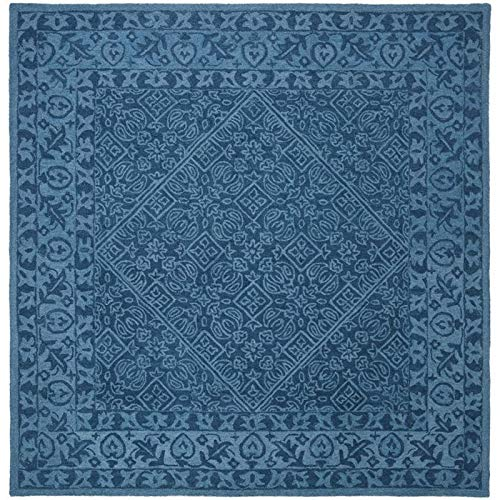 Safavieh DDY151N-7SQ Dip Dye Collection DDY151N Handmade Navy Blue Premium Wool Area (7' Square) Rug,